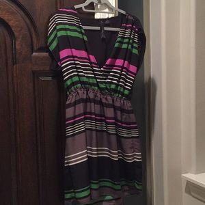 V cut striped dress